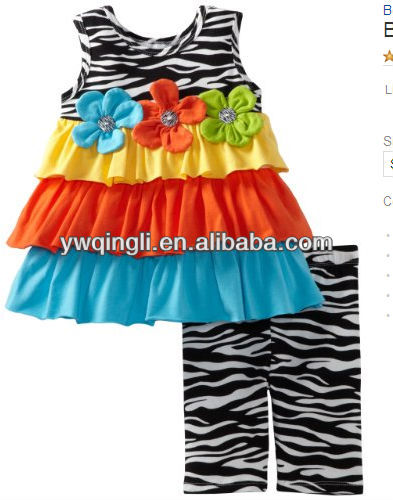 wholesale girls 2-6x zebra print and colorblock legging set
