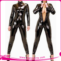 Hot Plus Size Sexy Girl Leather Lingerie Leather Catsuit