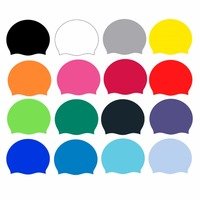 Silicone Unisex Men Women Swimming Pool Swim Cap Hat Protect Waterproof