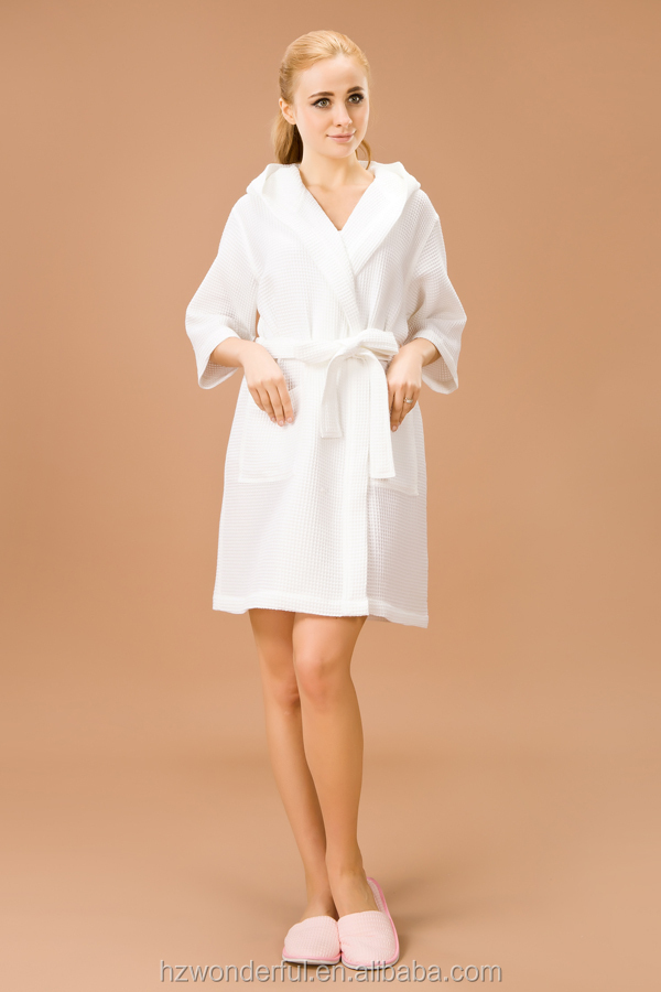 white hooded spa waffle women robe
