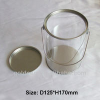 small clear PVC tin bucket with metal handle