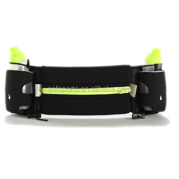 2 water bottles Waist pack elastic waterproof neoprene running belt