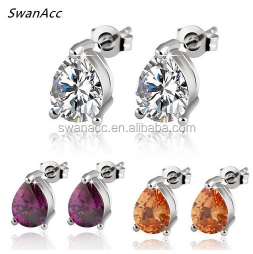 New Luxury Silver Color Earring Maxi Fashion Jewelry Zircon Crystal Fine Statement Stud Earrings For Women