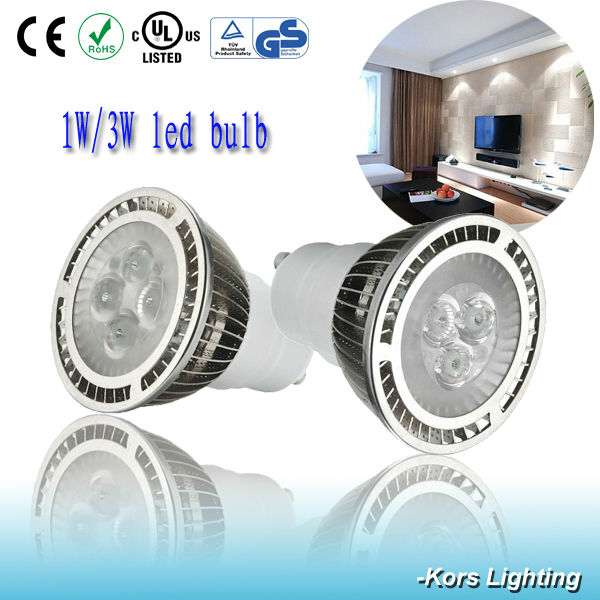 High brightness 1W 3W Gu10 E27 led lamp , led bulb light
