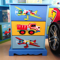 3-12 years old Popular Wooden kids furniture cheap storage cabinet beside table