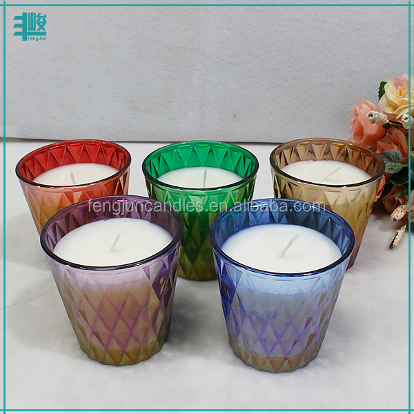 FengJun colorful Coconut & Fig aroma paraffin wax candle in plating glass