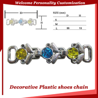 Silver plastic decorative clip chain with rhinestone for ladies shoes accessory