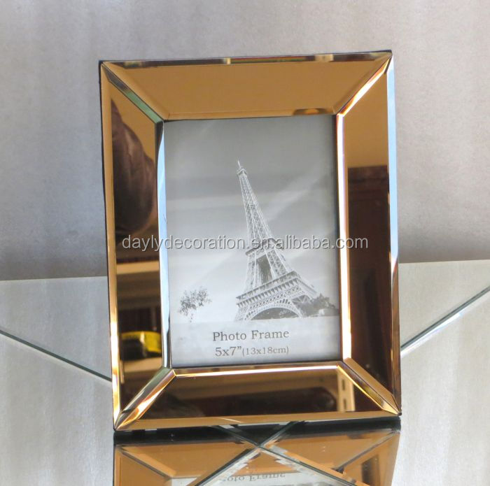 glass material high class Brown mirror photo frame