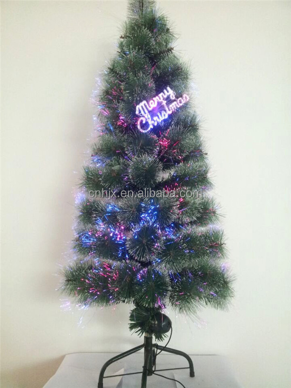 Snowing Holiday Decoration Outdoor Needle Pine Metal Christmas Tree, Fiber Optic Christmas Tree