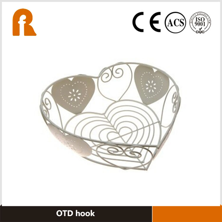 Alibaba Supplier heart shaped simple stainless steel fruit basket,Storage Custom wire fruit basket