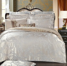 100 cotton satin jacquard of European style hotel 4pcs bedding sets
