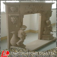 Sculpture Beige Sandstone Fireplace continental Fireplace