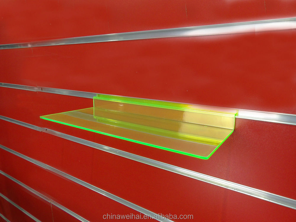 NEW GREEN ACRYLIC SLATWALL DISPLAY SHELF TRAY SHOE BOOK DISPLAY TRAY RACK