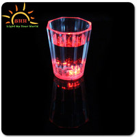 Colorful LED Flashing Barware Plastic Shot LED Glass, plastic juice cup,Promotional light up Liquid Activated Led Cup