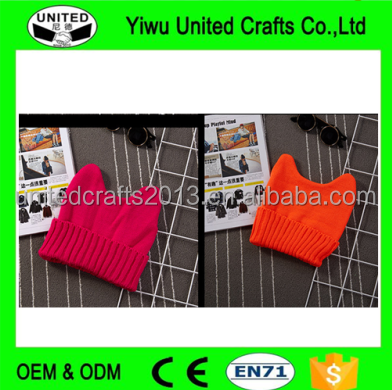 VARIOUS COLOR KNIT CAT EARS BEANIE HAT
