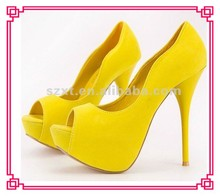 Stylish yellow High heel women shoes party dress ladies high heels