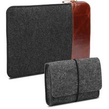 2 in 1 Bundle Felt Storage Pouch Bag & Soft Felt Fabric/Leather Canvas Protective Laptop Tablet Sleeve Case Cover