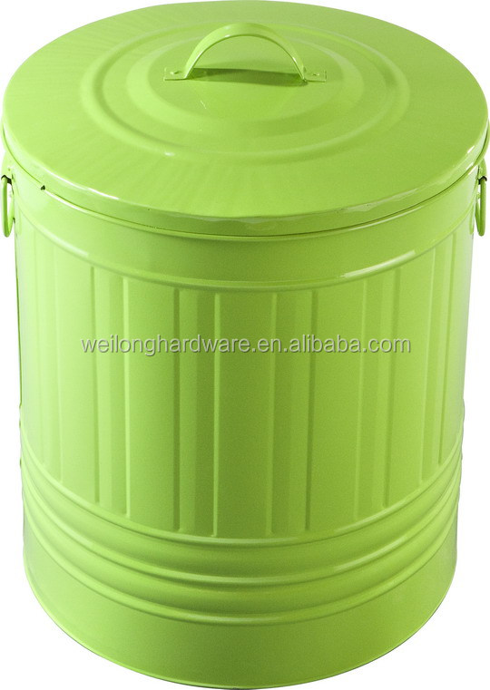 galvanized steel kitchen countertop trash bin for home and kitchen