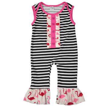 Stripe Sleeveless Wholesale Infant Children's Ruffle Boutique Clothing Baby Romper
