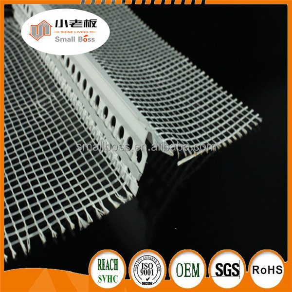 White drywall corner bead with mesh