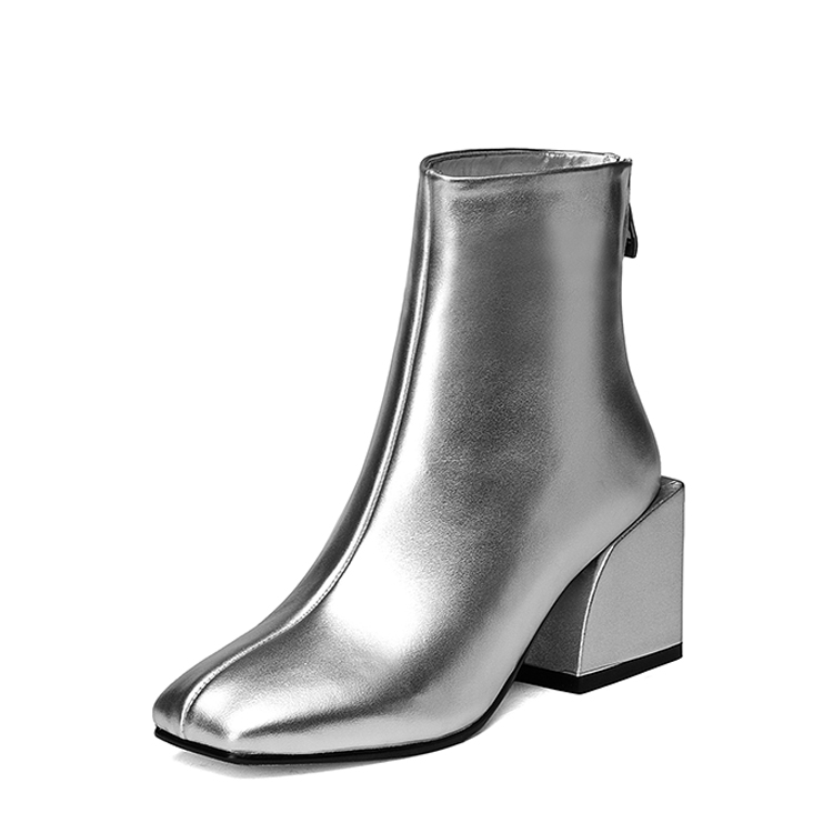 2017 chunky heels ankle boot Silver glossy cow leather women short boots