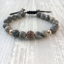 New Design Bracelet gray jasper bead paved with Zirconia pave bead Men Bracelet With Shamballa pink gold Ball
