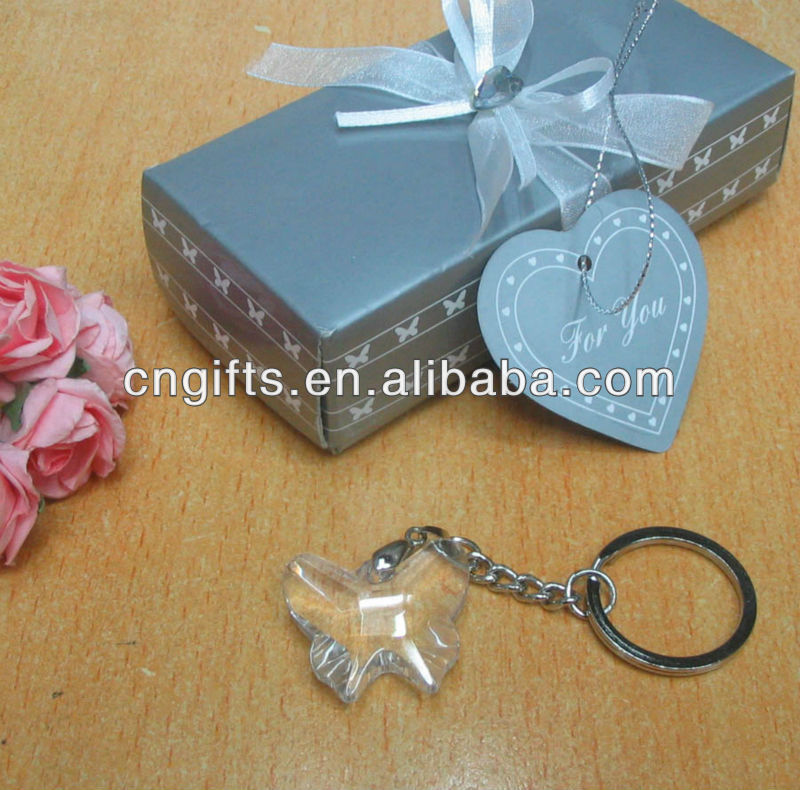 2013 Newest wedding and birthday favors gifts Chrome Key Chain with Crystal butterfly giveaways