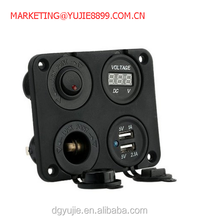 4 hole Pane Base kit With Dual USB Charger + DC Voltmeter Meter + Power Socket + ON-OFF Button Switch