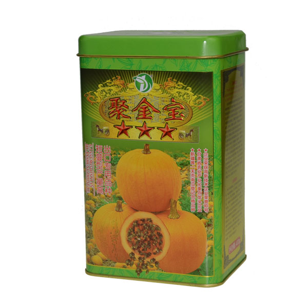 Chinese style factory directly crops seeds package can box with airtight cover rectangle tall golden inner green design tin box