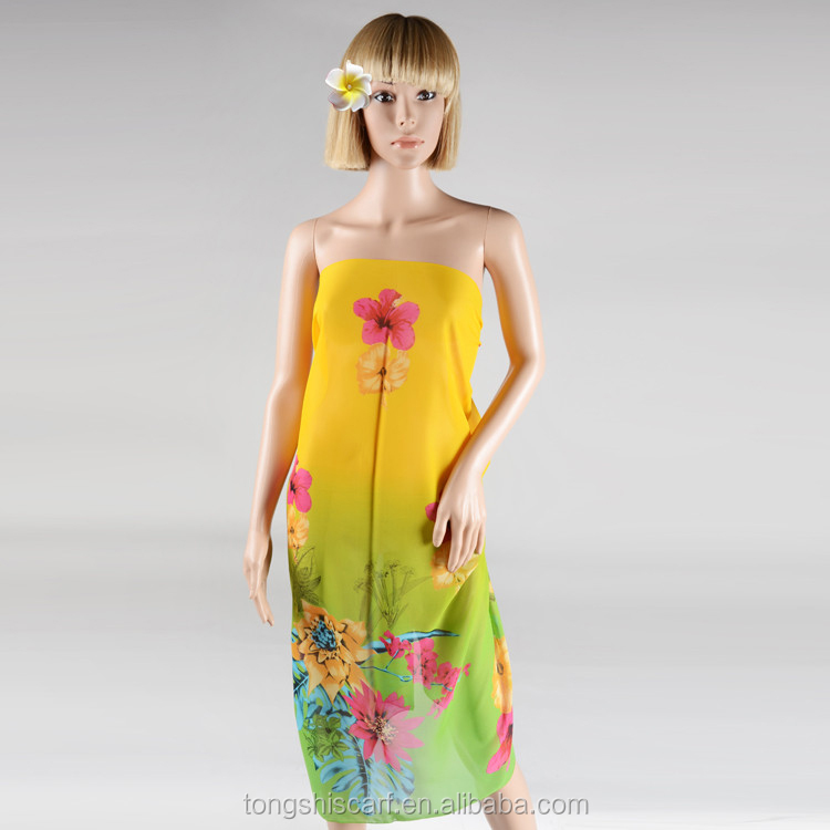 New arrivals cheap pareo sarong chiffon fabric with floral design