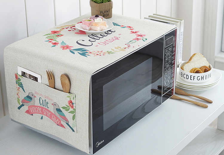 Hot sale high quality custom printed fresh-style kitchen microwave cover