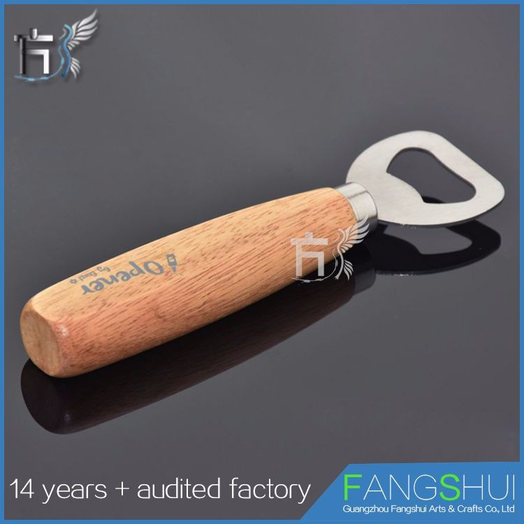 Best selling logo custom wood handle bottle opener