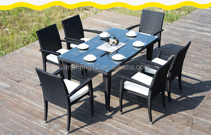 6 seater home outdoor party patio bar stool furniture wicker table set