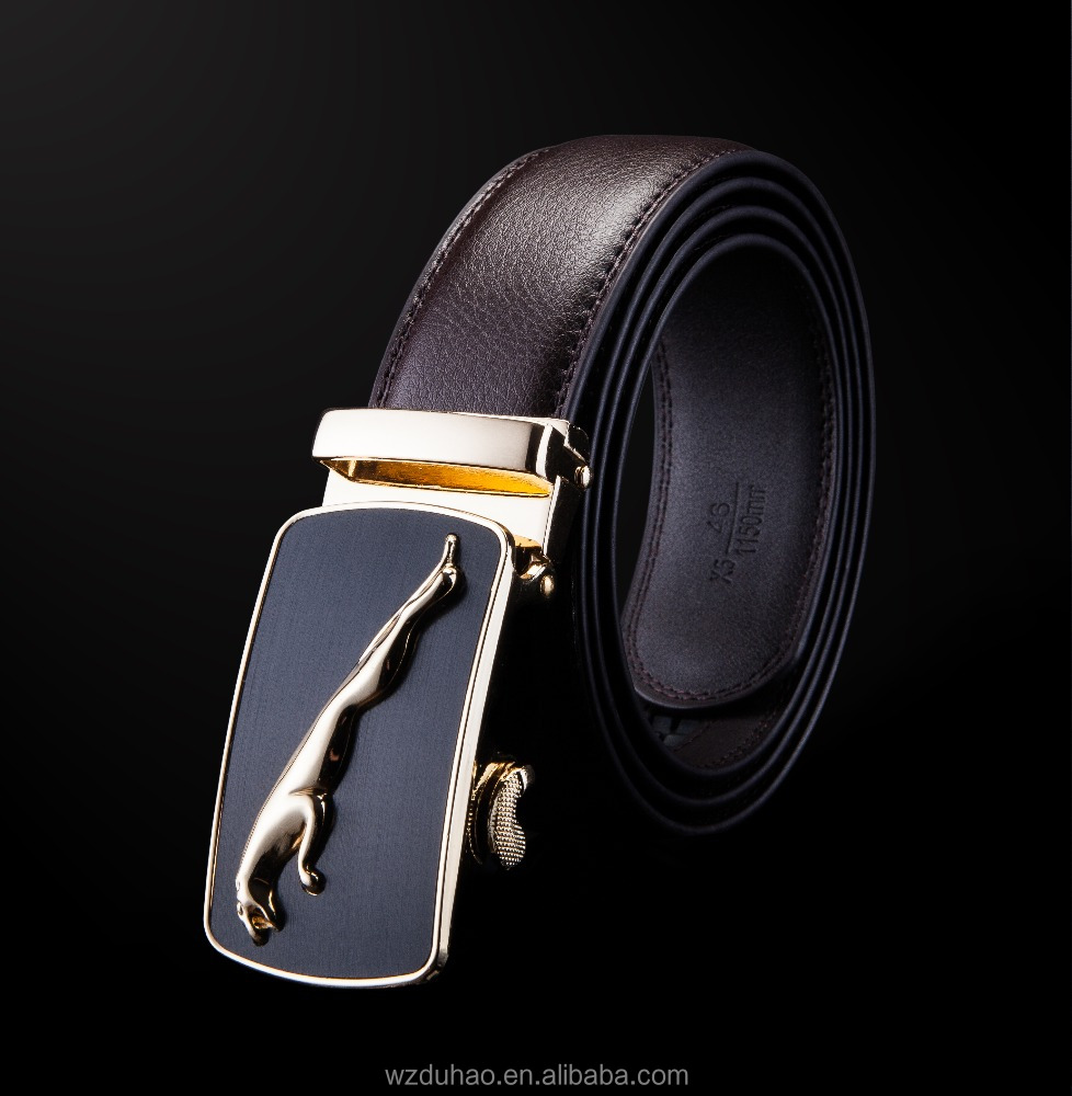 Bussiness Type OEM Brand Adjustable Automatic Leather Belts For Men With Alloy Buckle