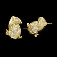 Cute Lovely Fashion New Design Raw Brass Zircon Bird Stud Earrings For Cute Girls