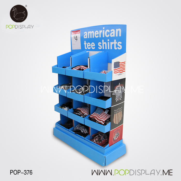 Multiple Trays Semi-Permanent 4 Tier T-Shirt Pos Cardboard T Shirt Display Stand