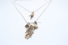 Vintage Antiqued Gold Bird Bronze Metal Pendant Necklace w/ Flower & Leaves Double Layered Anti-Gold Copper Chain Necklace