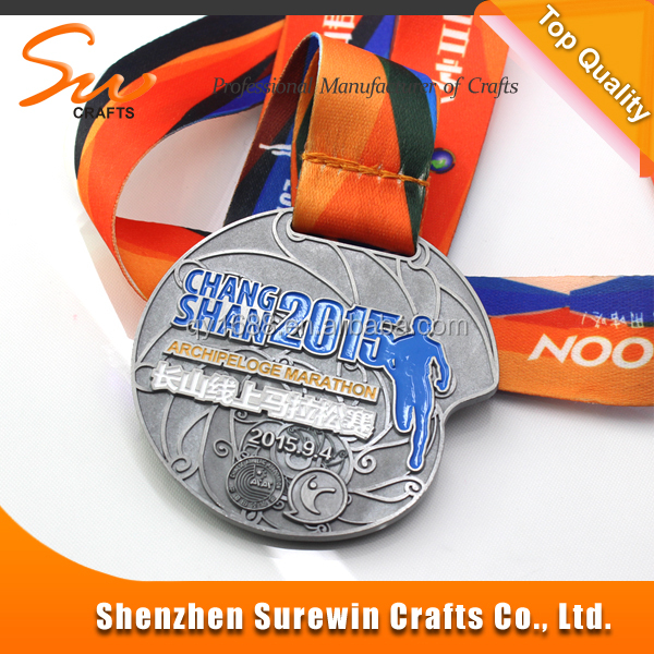 Sports medal with custom logo for marathon