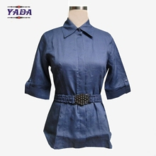 Style garment ladies' blouses and tops plus size ladies fancy model neck for women casual blouse designs