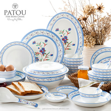 Ceramic bone china 48pcs dinnerware set blue color made in china