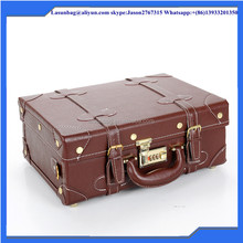 Durable brown decaraton bag set vintage PU travel suitcase Men travel luggage bag without wheels