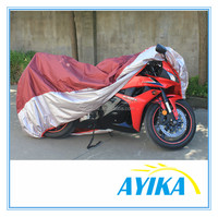 outdoor waterproof red and silver folding motorcycle garage fiberglass motorcycle cover