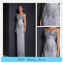 TWE46 Fashion Strapless Bling Bling Beaded Lace Silver Evening Dresses Top Designer Evening Gowns