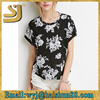 high quality flower print ladies tops,simple neck designs for ladies tops