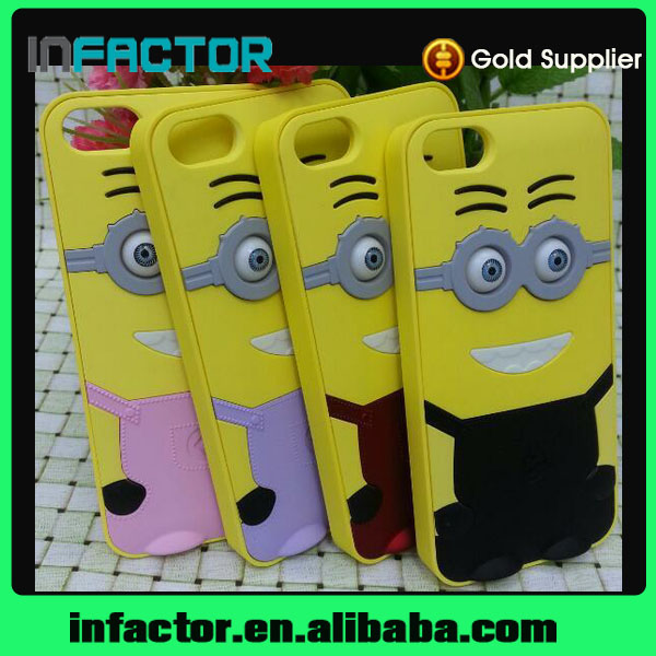 Minions silicone hard back cover case for iPhone4 4s