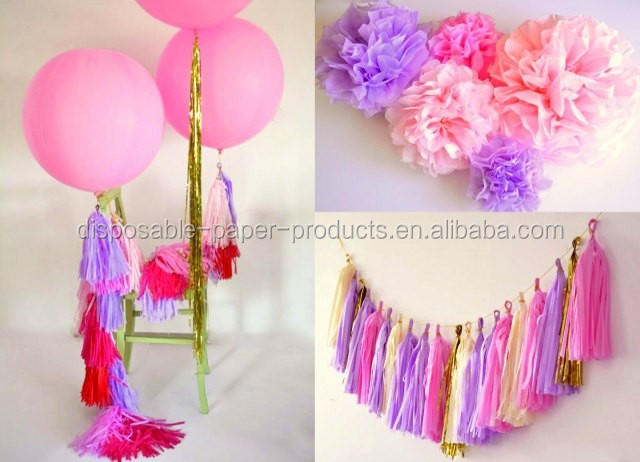 NEW party decoration kit - rapunzel tangled themed party - 2 giant 36' balloons with tassels + 10 pom poms + tassel garland