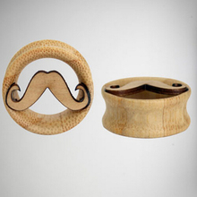 High Quality Hand Made Mustache Wood Plugs Set Organic Ear Tunnels Gauges Body Jewelry