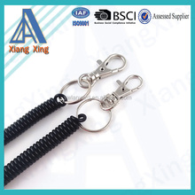 Plastic coil tool lanyard with metal hook
