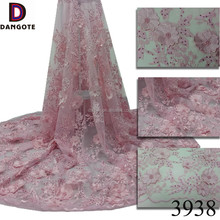 New arrival 3d lace fabric beads bridal/lace fabric 3d flower beaded sequined lace fabric with stones