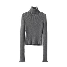Long Sleeve Rib Design Womens Turtleneck Short Pullover Winter Splitted Cuff Warm Elastic Sweater For Lady
